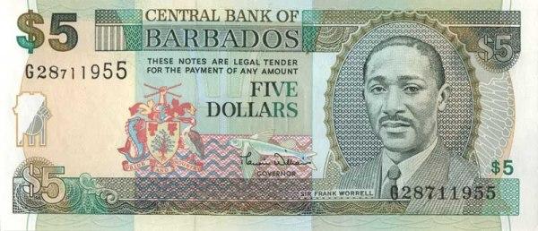 Барбадосский доллар. Купюра номиналом в 5 BBD, аверс (лицевая сторона).