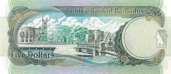 Барбадосский доллар. Купюра номиналом в 5 BBD, реверс (обратная сторона).