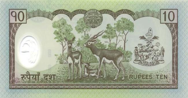 Непальская рупия. Купюра номиналом в 10 NPR, реверс (обратная сторона).