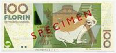 Арубанский флорин. Купюра номиналом в 100 AWG, аверс (лицевая сторона).