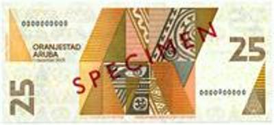 Арубанский флорин. Купюра номиналом в 25 AWG, реверс (обратная сторона).