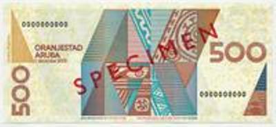 Арубанский флорин. Купюра номиналом в 500 AWG, реверс (обратная сторона).