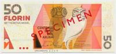 Арубанский флорин. Купюра номиналом в 50 AWG, аверс (лицевая сторона).