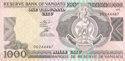 Вату Вануату. Купюра номиналом в 1000 VUV, аверс (лицевая сторона).