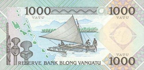 Вату Вануату. Купюра номиналом в 1000 VUV, реверс (обратная сторона).