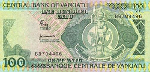 Вату Вануату. Купюра номиналом в 100 VUV, аверс (лицевая сторона).