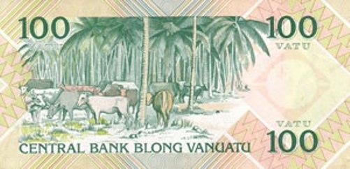 Вату Вануату. Купюра номиналом в 100 VUV, реверс (обратная сторона).