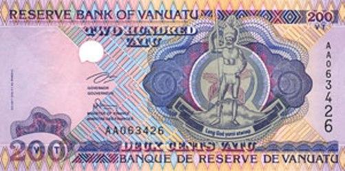 Вату Вануату. Купюра номиналом в 200 VUV, аверс (лицевая сторона).
