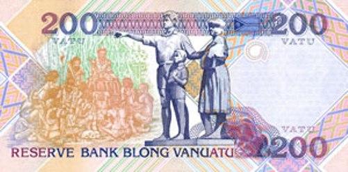 Вату Вануату. Купюра номиналом в 200 VUV, реверс (обратная сторона).