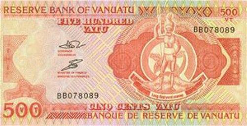 Вату Вануату. Купюра номиналом в 500 VUV, аверс (лицевая сторона).
