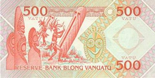 Вату Вануату. Купюра номиналом в 500 VUV, реверс (обратная сторона).