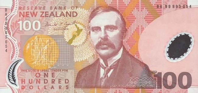 Новозеландский доллар. Купюра номиналом 100 NZD, аверс (лицевая сторона).
