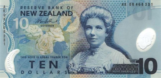Новозеландский доллар. Купюра номиналом 10 NZD, аверс (лицевая сторона).