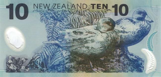 Новозеландский доллар. Купюра номиналом 10 NZD, реверс (обратная сторона).