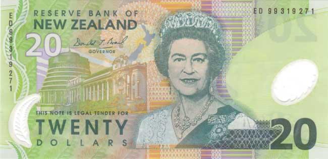 Новозеландский доллар. Купюра номиналом 20 NZD, аверс (лицевая сторона).