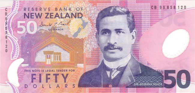 Новозеландский доллар. Купюра номиналом 50 NZD, аверс (лицевая сторона).