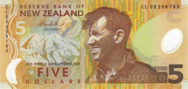 Новозеландский доллар. Купюра номиналом 5 NZD, аверс (лицевая сторона).