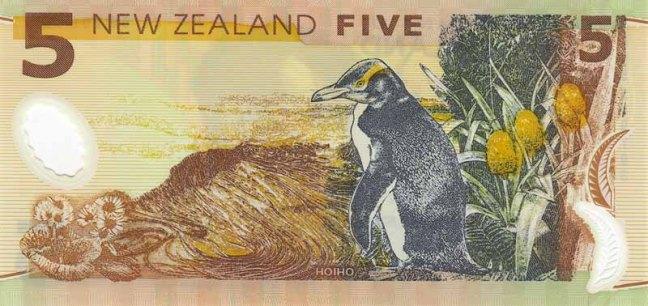 Новозеландский доллар. Купюра номиналом 5 NZD, реверс (обратная сторона).