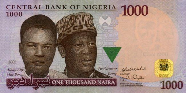 Нигерийская найра. Купюра номиналом в 1000 NGN, аверс (лицевая сторона).