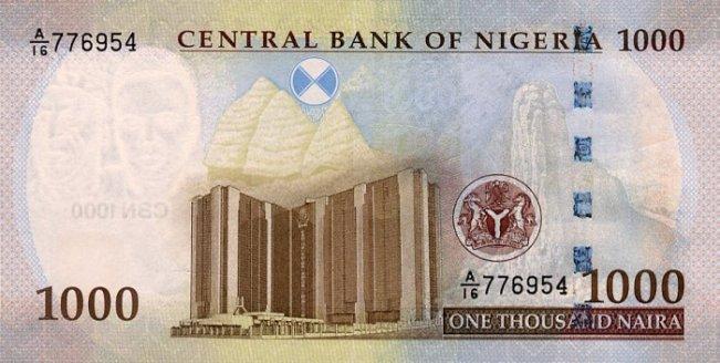 Нигерийская найра. Купюра номиналом в 1000 NGN, реверс (обратная сторона).