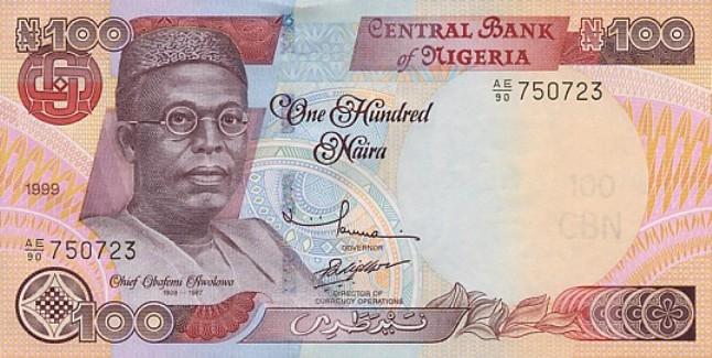 Нигерийская найра. Купюра номиналом в 100 NGN, аверс (лицевая сторона).
