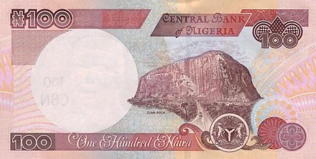 Нигерийская найра. Купюра номиналом в 100 NGN, реверс (обратная сторона).