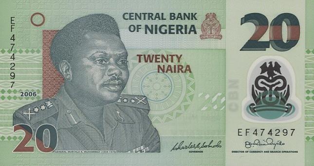 Нигерийская найра. Купюра номиналом в 20 NGN, аверс (лицевая сторона).