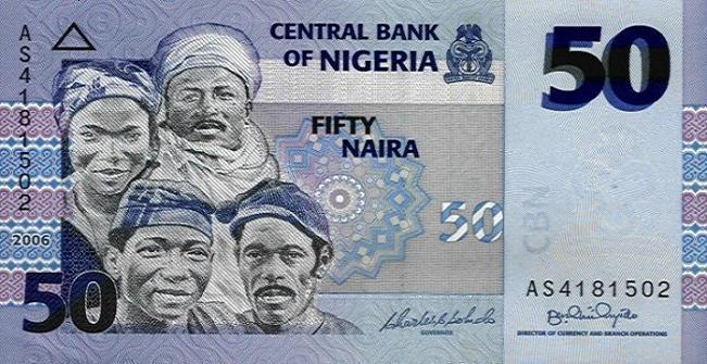 Нигерийская найра. Купюра номиналом в 50 NGN, аверс (лицевая сторона).