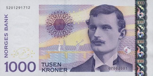 Норвежская крона. Купюра номиналом в 1000 NOK, аверс (лицевая сторона).