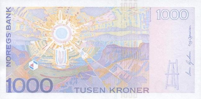 Норвежская крона. Купюра номиналом в 1000 NOK, реверс (обратная сторона).