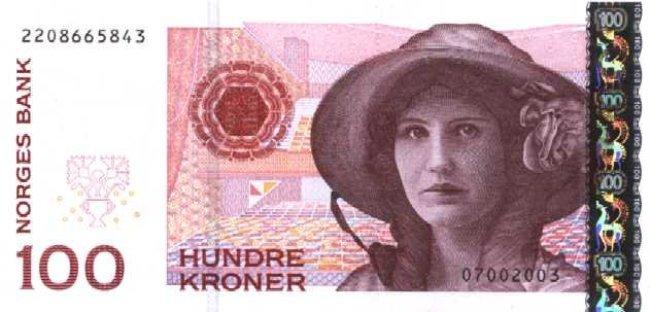 Норвежская крона. Купюра номиналом в 100 NOK, аверс (лицевая сторона).