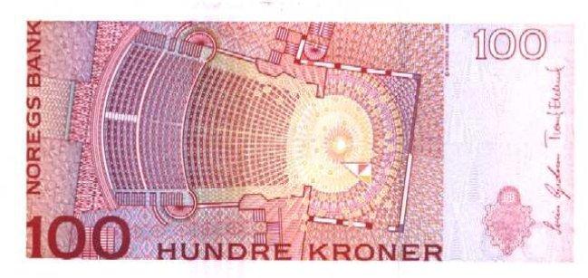 Норвежская крона. Купюра номиналом в 100 NOK, реверс (обратная сторона).
