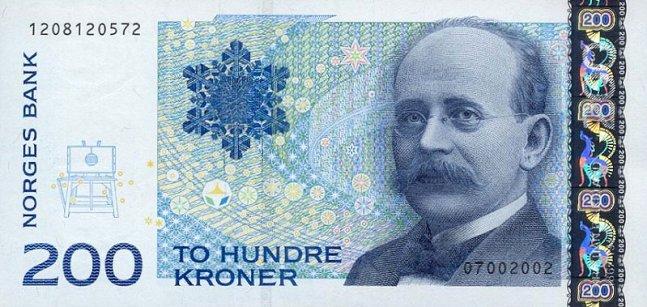 Норвежская крона. Купюра номиналом в 200 NOK, аверс (лицевая сторона).