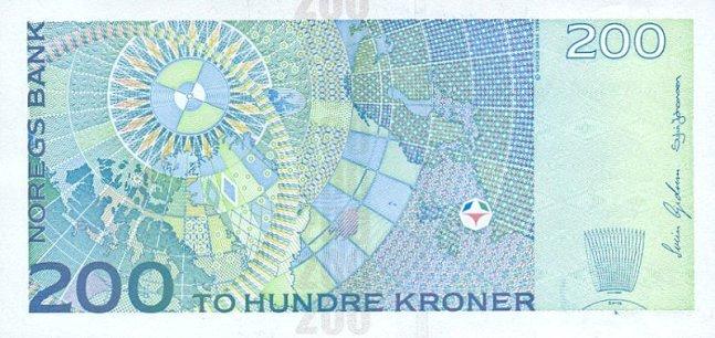 Норвежская крона. Купюра номиналом в 200 NOK, реверс (обратная сторона).