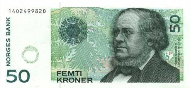 Норвежская крона. Купюра номиналом в 50 NOK, аверс (лицевая сторона).
