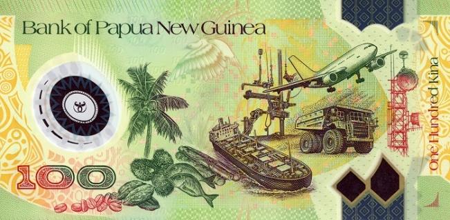 Кина П-Нов гвинея. Купюра номиналом в 100 PGK, реверс (обратная сторона).