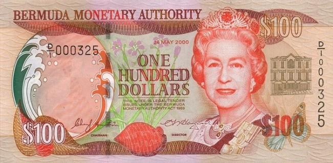 Бермудский доллар. Купюра номиналом в 100 BMD, аверс (лицевая сторона).