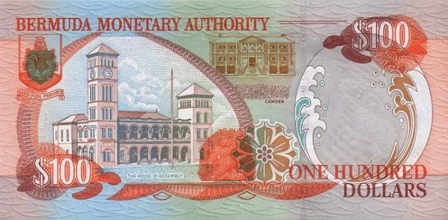 Бермудский доллар. Купюра номиналом в 100 BMD, реверс (обратная сторона).