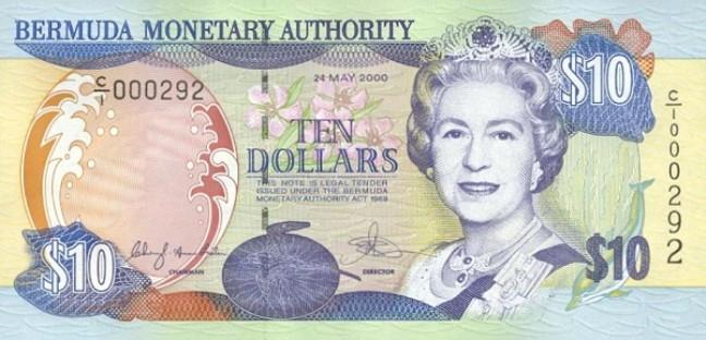 Бермудский доллар. Купюра номиналом в 10 BMD, аверс (лицевая сторона).