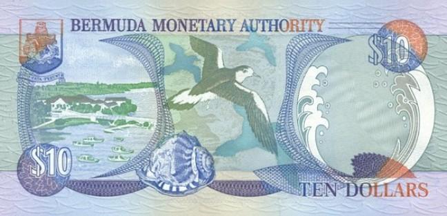 Бермудский доллар. Купюра номиналом в 10 BMD, реверс (обратная сторона).