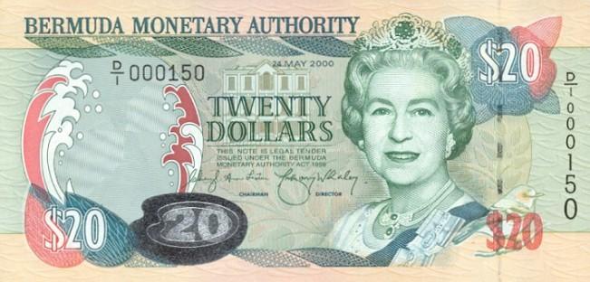 Бермудский доллар. Купюра номиналом в 20 BMD, аверс (лицевая сторона).