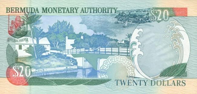 Бермудский доллар. Купюра номиналом в 20 BMD, реверс (обратная сторона).
