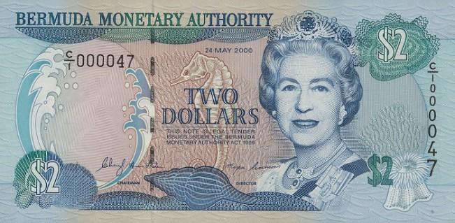 Бермудский доллар. Купюра номиналом в 2 BMD, аверс (лицевая сторона).