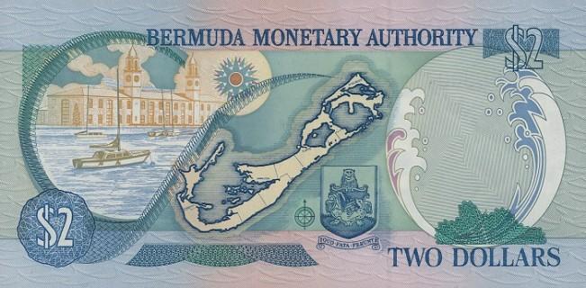 Бермудский доллар. Купюра номиналом в 2 BMD, реверс (обратная сторона).