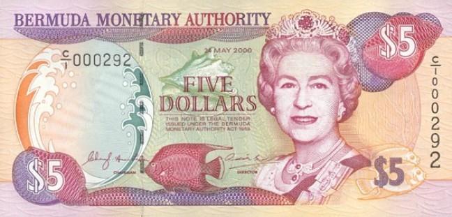 Бермудский доллар. Купюра номиналом в 5 BMD, аверс (лицевая сторона).