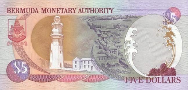 Бермудский доллар. Купюра номиналом в 5 BMD, реверс (обратная сторона).