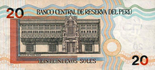 Перуанский новый соль. Купюра номиналом в 20 PEN, реверс (обратная сторона).