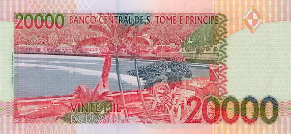 Сан-томе Принсини добра. Купюра номиналом в 20000 STD, реверс (обратная сторона).