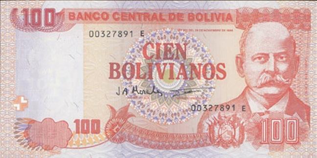 Боливийский боливиано. Купюра номиналом в 100 BOB, аверс (лицевая сторона).