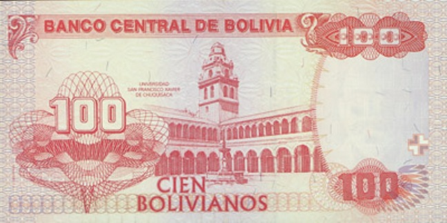 Боливийский боливиано. Купюра номиналом в 100 BOB, реверс (обратная сторона).